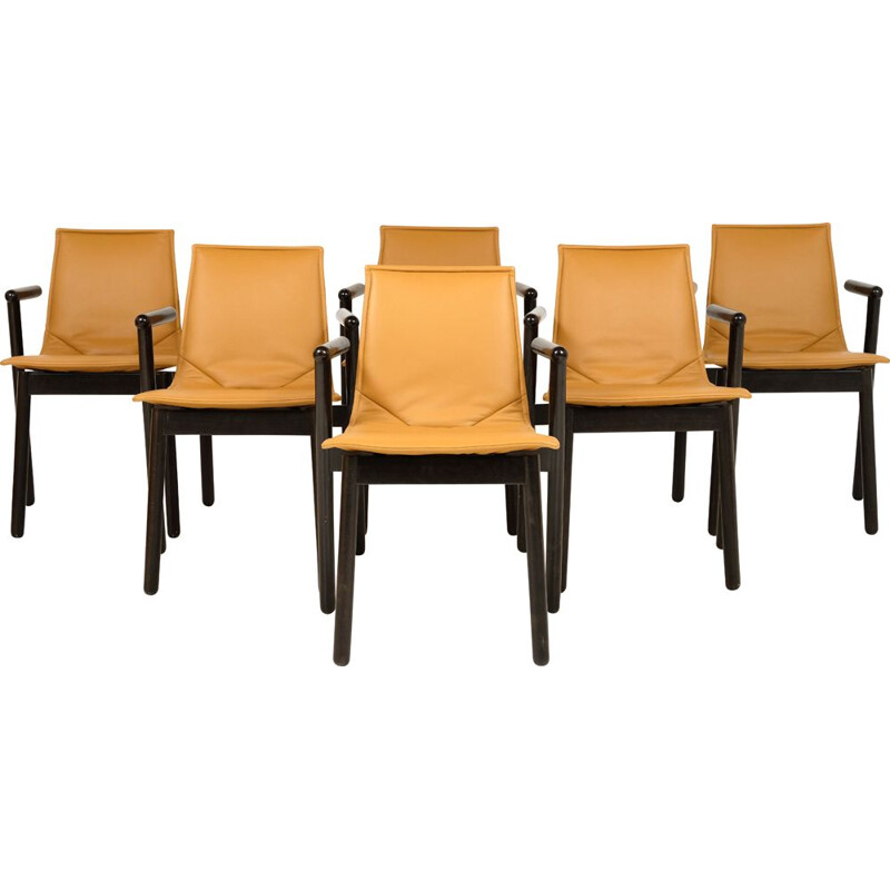 Set of 6 vintage leather and wood chairs Cassina 1980s