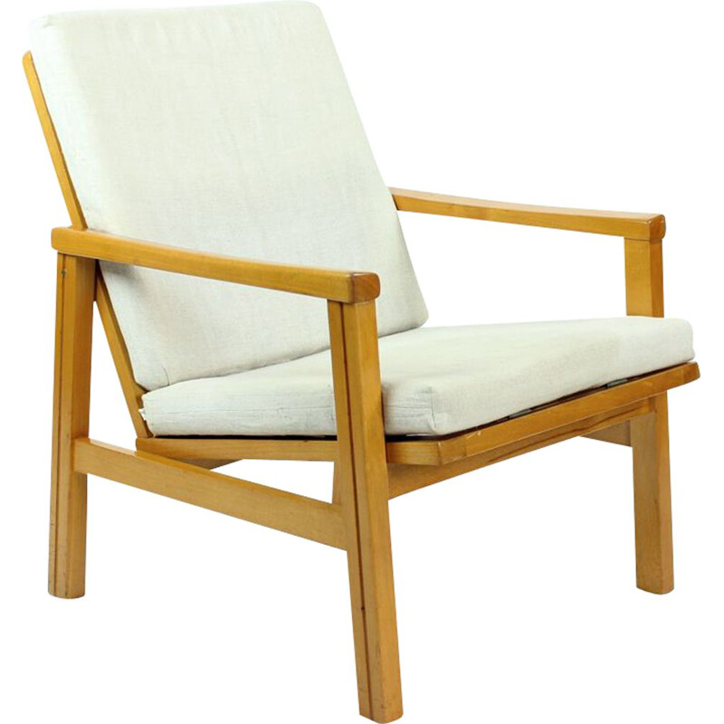 Vintage armchair in blond wood and linen cushions by Ton Czechoslovakia 1960s