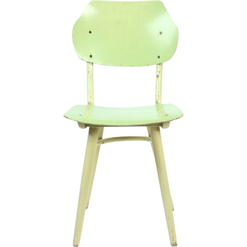 Vintage chair by Ton in lime green and cream Czechoslovakia 1960s