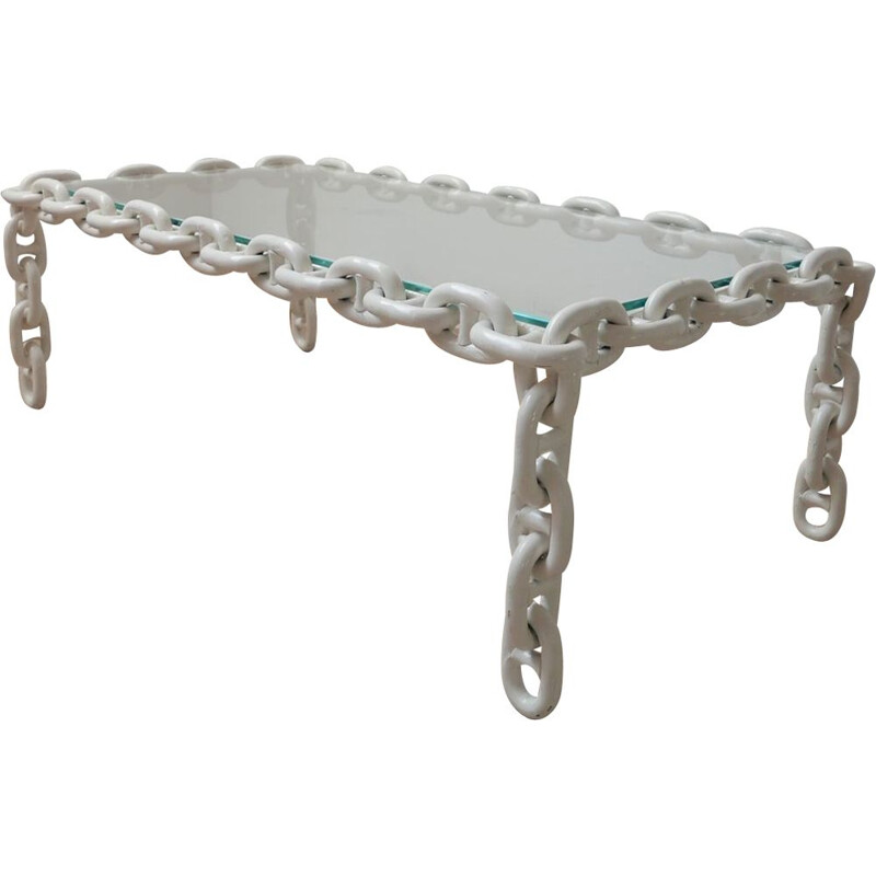 Vintage coffee table with fresh clear glass top