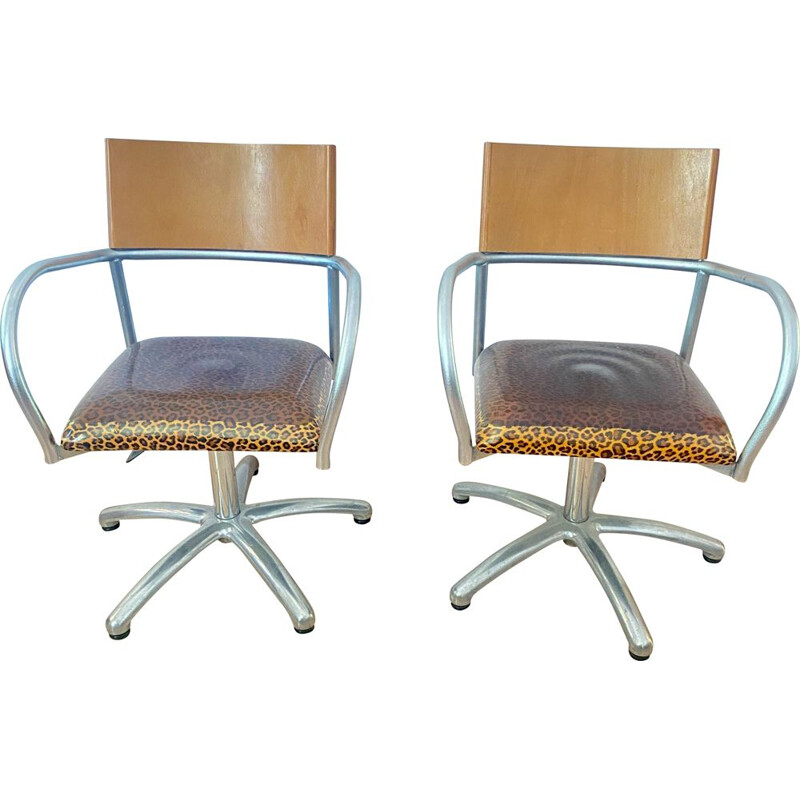 Pair of vintage armchairs adjustable  1980s