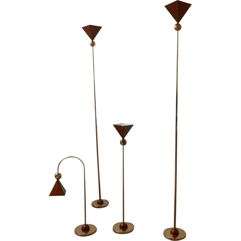 Set of 4 vintage brass and copper floor and table lamps Italy