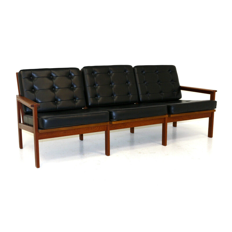Vintage Sofa Capella Model 4 in leather Denmark 1960s