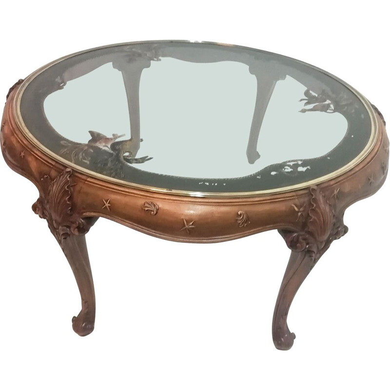 Vintage circular coffee table in walnut and painted glass top Spain 1950s