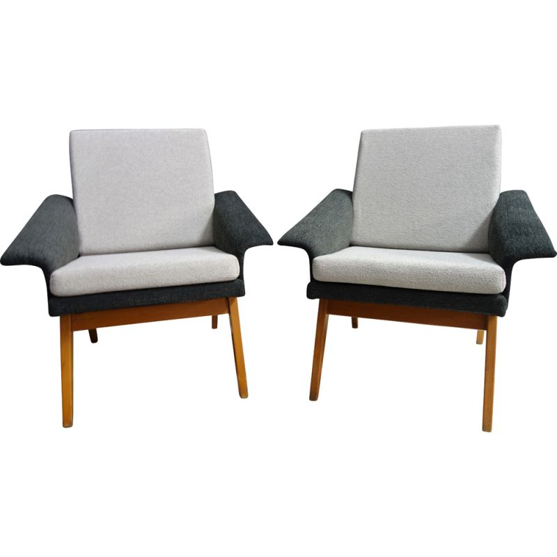 Pair of  vintage armchairs grey by Navratil 1960s