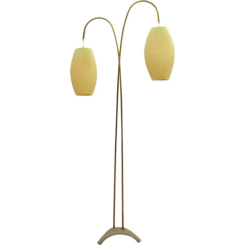 Vintage brass floor lamp with shade 1950s