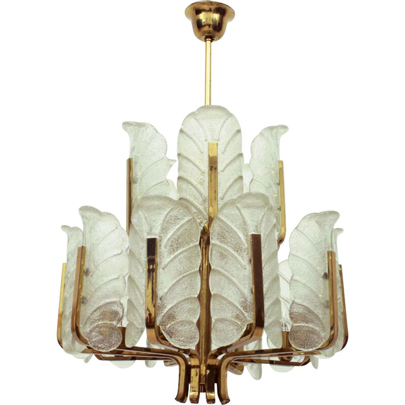 Vintage chandelier 15 arms brass and glass leaf  by Carl Fagerlund 1960s