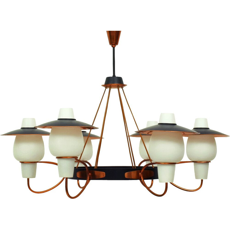 Vintage chandelier with 6 arms in copper and opaline glass 1950s