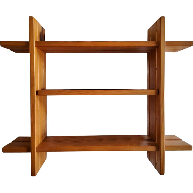 Vintage solid elm shelf by la maison regain 1970s