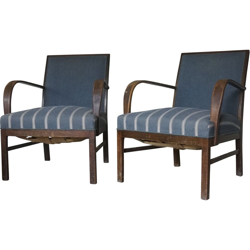 Pair of vintage dark stained beechwood armchairs by Fritz Hansen 1930s