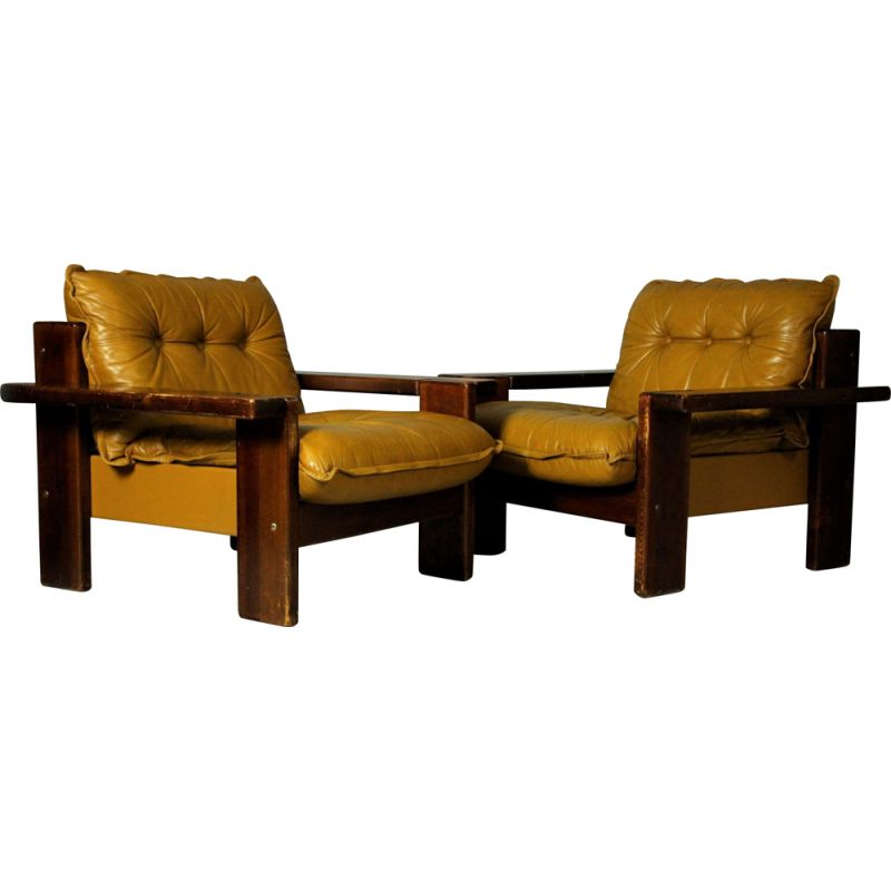 Pair of vintage leather club chairs Finland 1970s