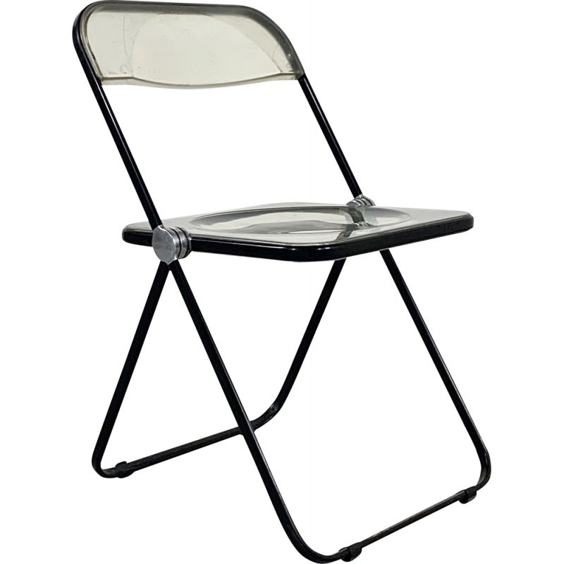 Vintage folding chair in black frame by Giancarlo Piretti for Castelli 1960s
