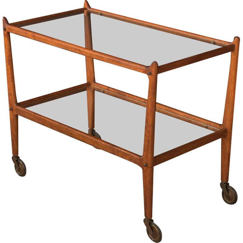 Vintage glass serving trolley with brass wheels 1950s