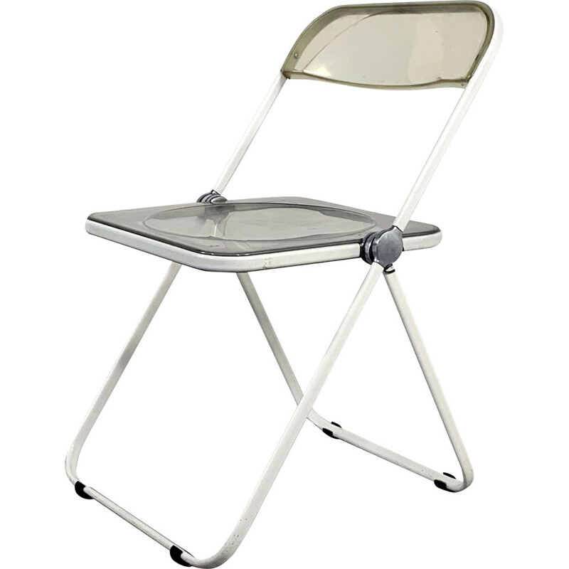 Vintage folding chair Plia in white frame by Giancarlo Piretti for Castelli 1960s