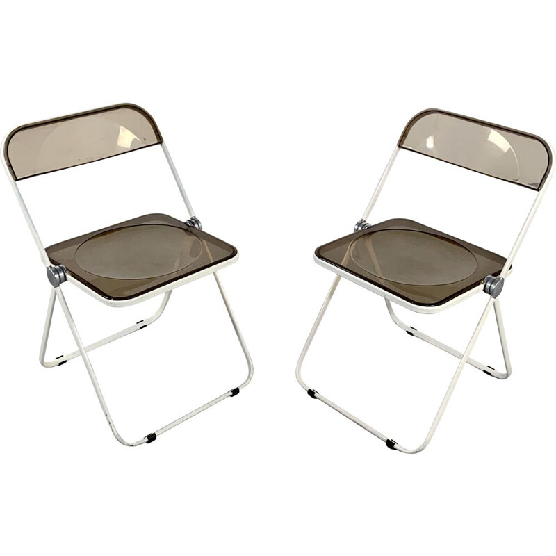 Vintage folding chair Plia  with white and smoke frame by Giancarlo Piretti for Castelli 1960s