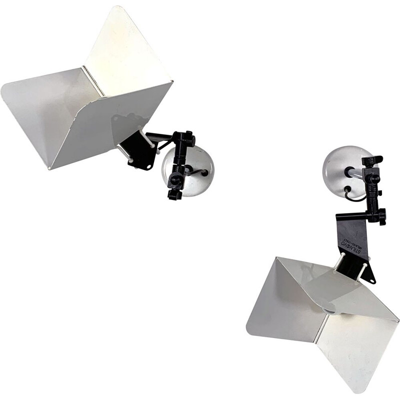 Pair of vintage Triedro sconces by Joe Colombo for Stilnovo 1980s