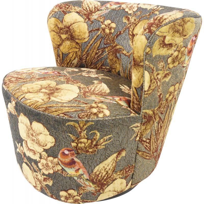 Vintage gold fabric swivel cocktail armchair