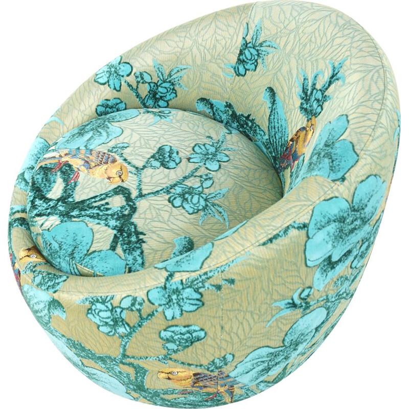 Vintage egg-shaped swivel armchair in turquoise fabric