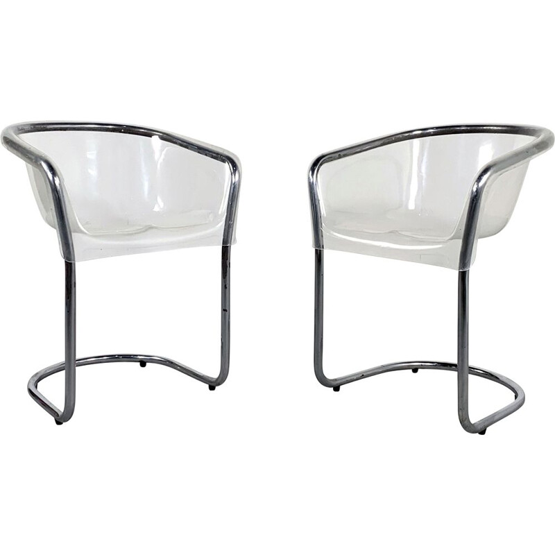 Pair of chairs in plexiglass Italy 1970s