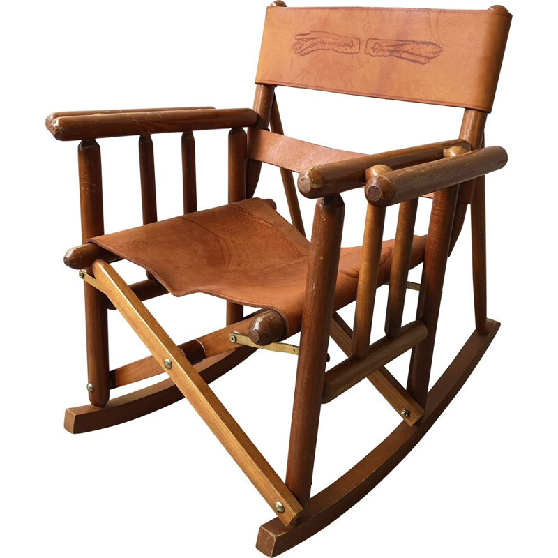 Vintage chair for children leather rocking