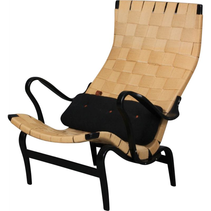 Vintage Pernilla armchair in beech wood by Bruno Mathsson 1969s