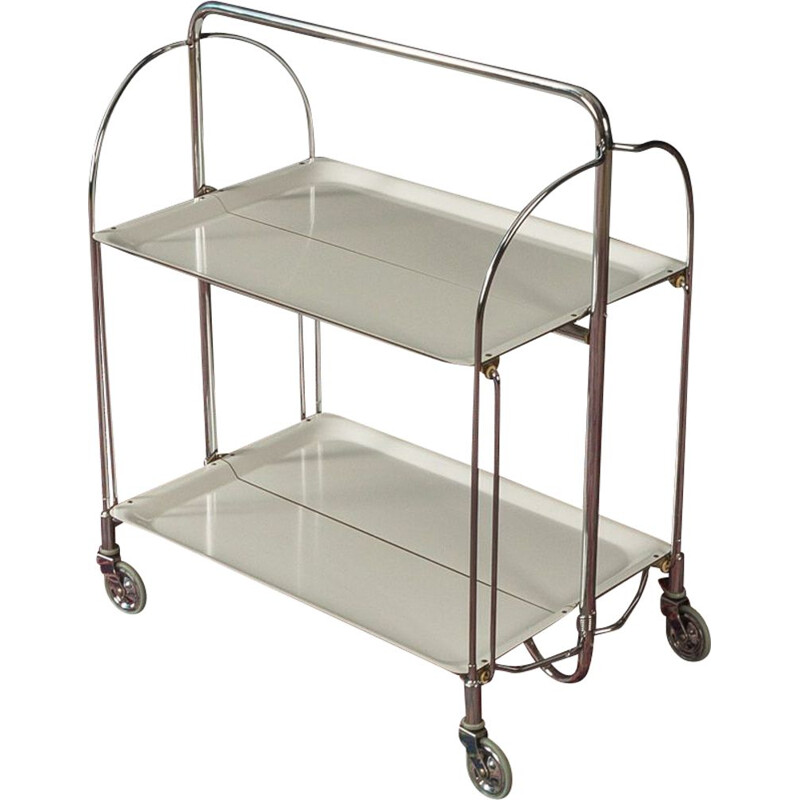 Vintage serving trolley with folding frame in chrome-plated steel tube 1950s