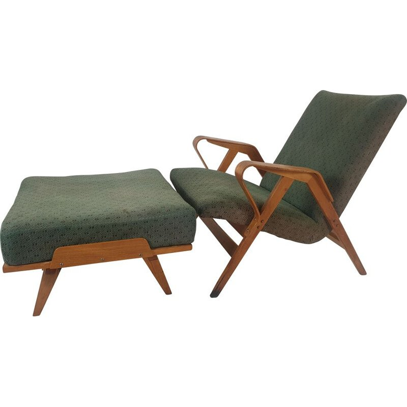 Vintage armchair and footstool set by Francis Jirák for Tatra Furniture 1960s