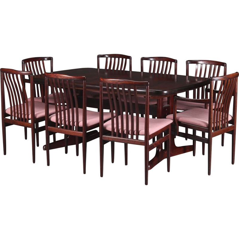Vintage extensible table with 8 rosewood chairs