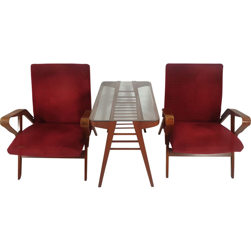 Set of vintage armchair and table  by Francis Jirák 1960s
