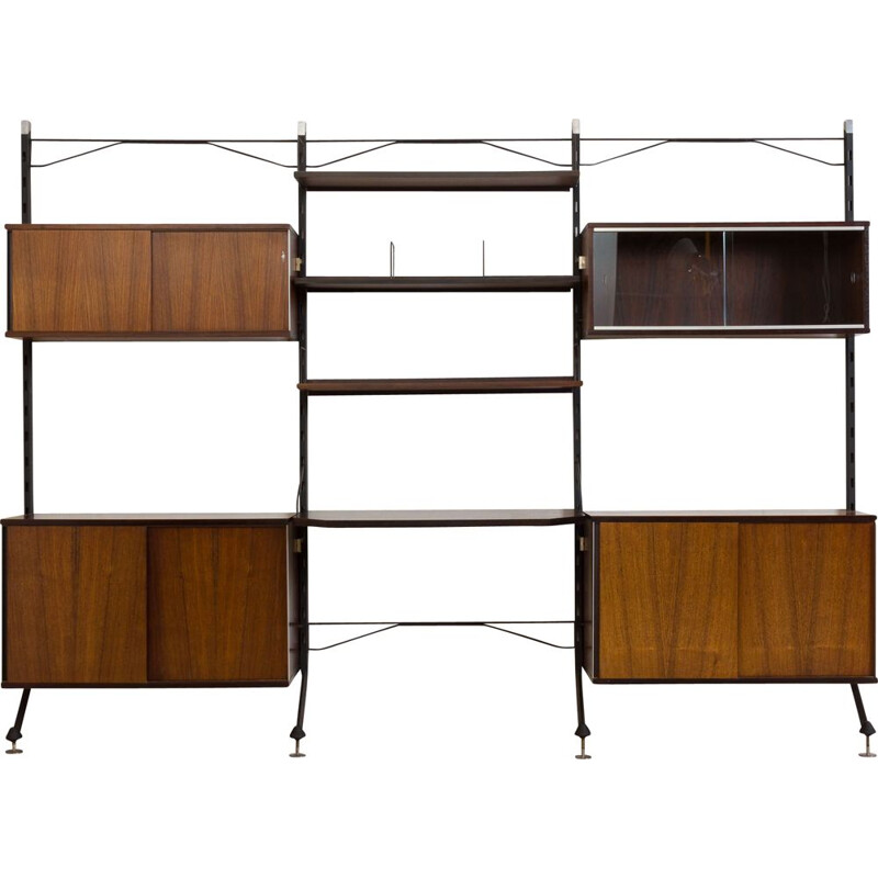Vintage rosewood wall unit with desk Italy 1960s