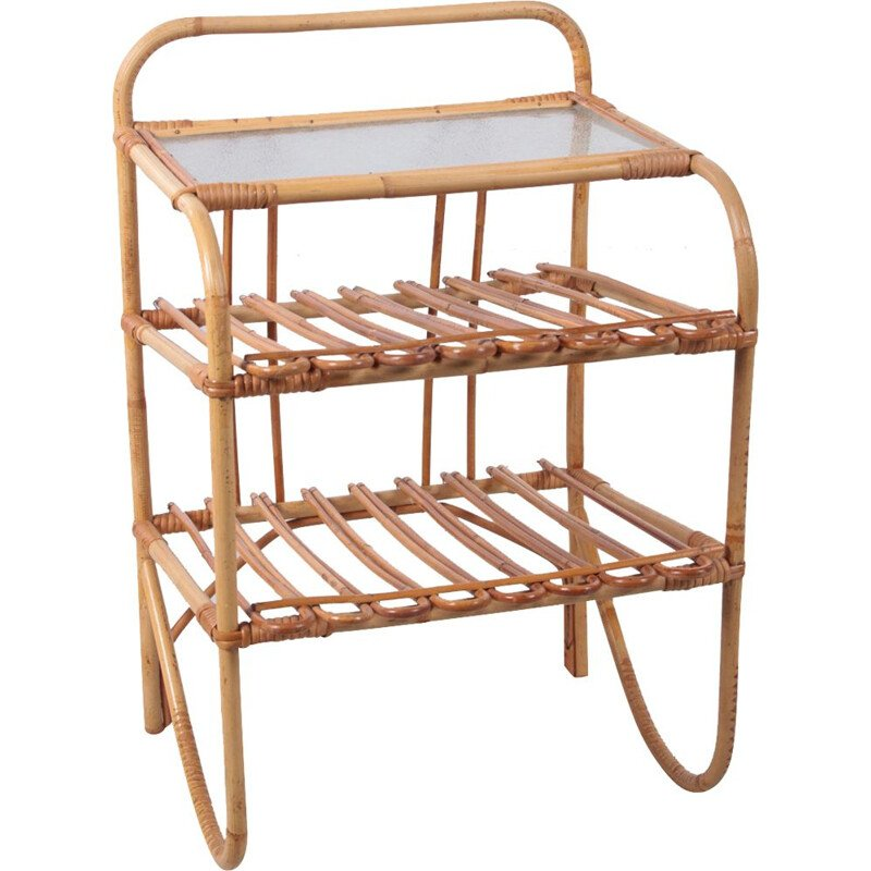Vintage bamboo side table with storage stands Denmark 1960s