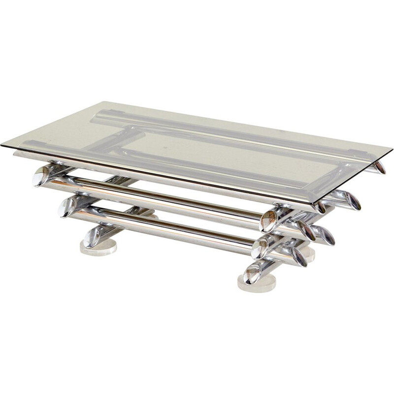 Vintage coffee table chrome-plated  with a sculpture-like design from 1980s