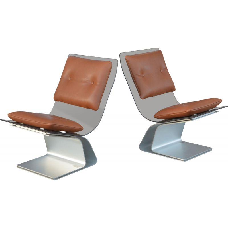 Pair of vintage armchairs smoked glass and leather 1970 s