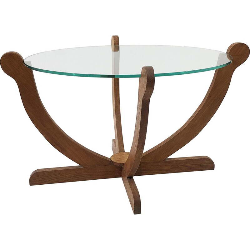 Vintage coffee table  oak and glass 1930s