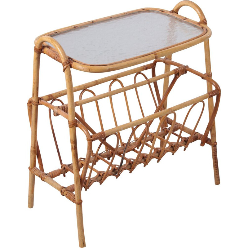 Vintage bamboo side table with storage racks 1960s