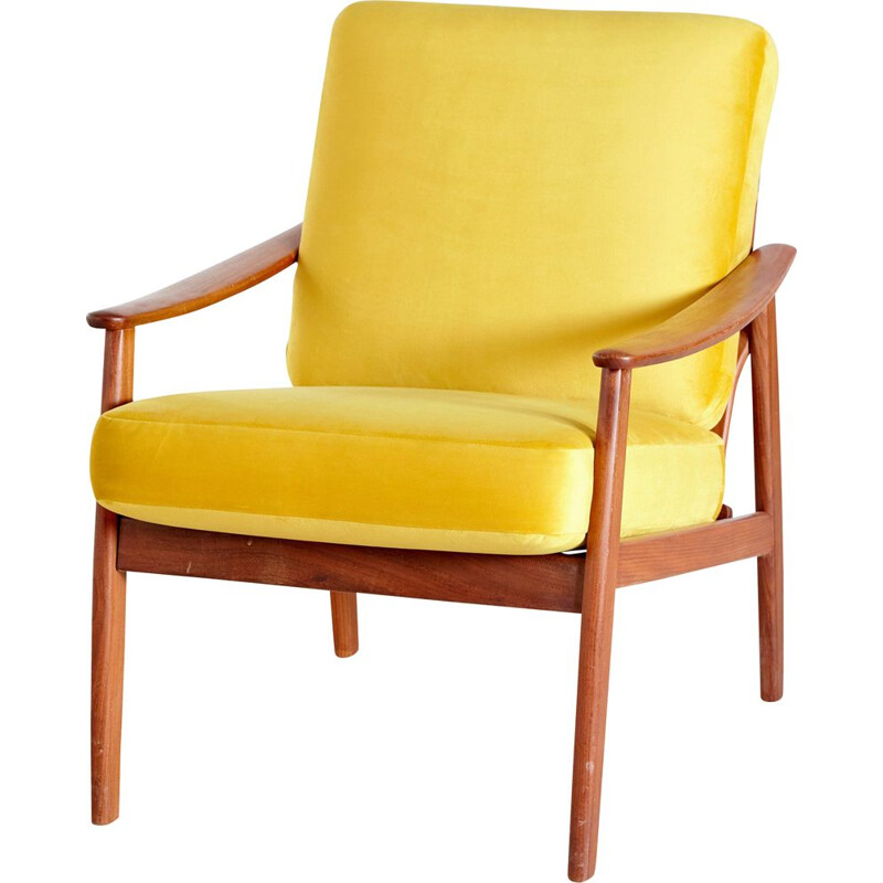 Vintage teak armchair with new yellow velvet upholstery Denmark 1960s