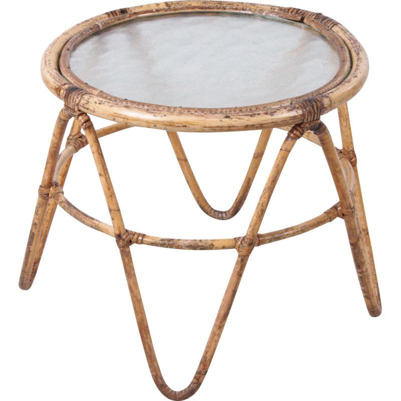 Vintage plant table with glass bamboo  1960s