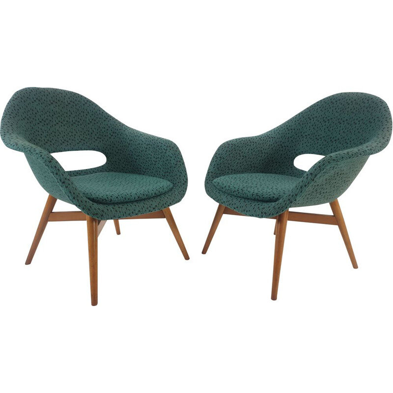 Vintage armchairs  Bucket by Miroslav Navratil for Vertex 1950s