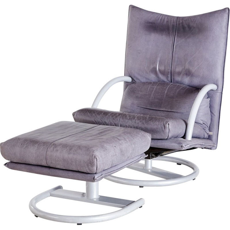 Pair of vintage grey leather chaise longue and footstool by Rolf Benz 1990s