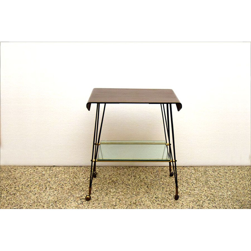 Vintage coffee table bent plywood  on casters 1960s