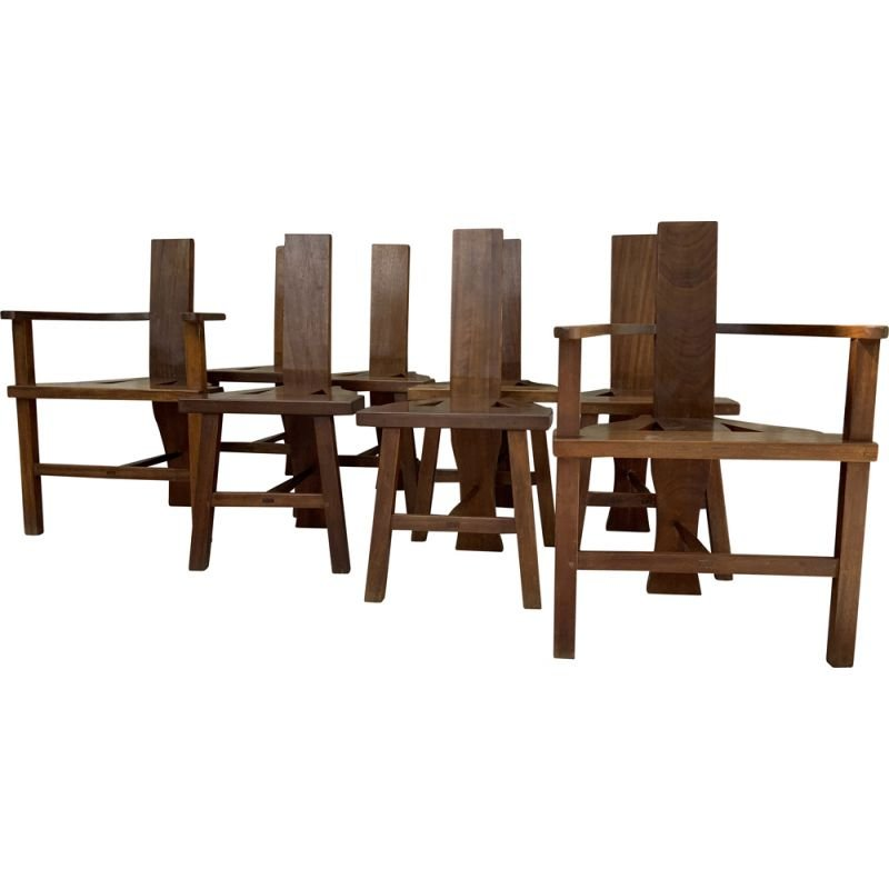 Set of 6 chairs and 2 armchairs vintage France 1950s