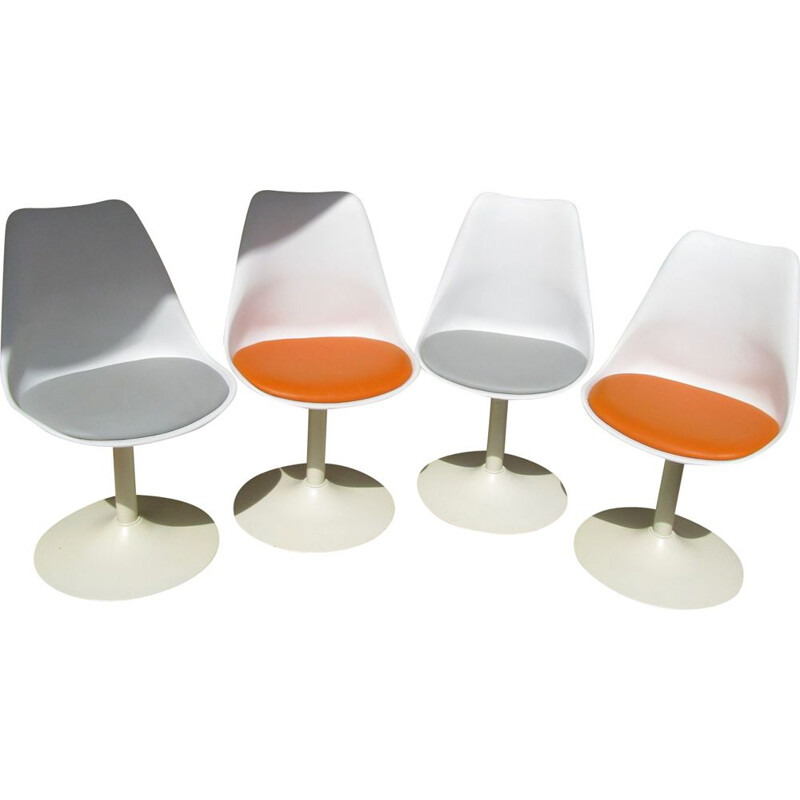 Set of 4 vintage tulip swivel chairs 1950s