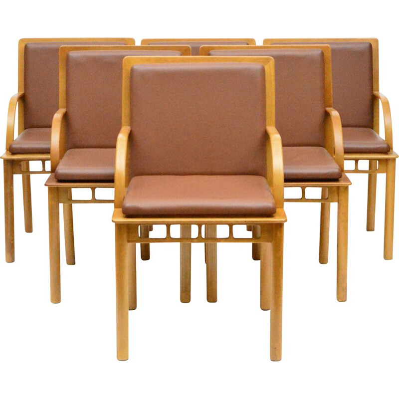 Set of 6 vintage Bridge chairs by Ettore Sottsass for Knoll Studio 1988s