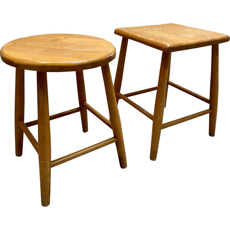 Pair of vintage wooden stools 1960s