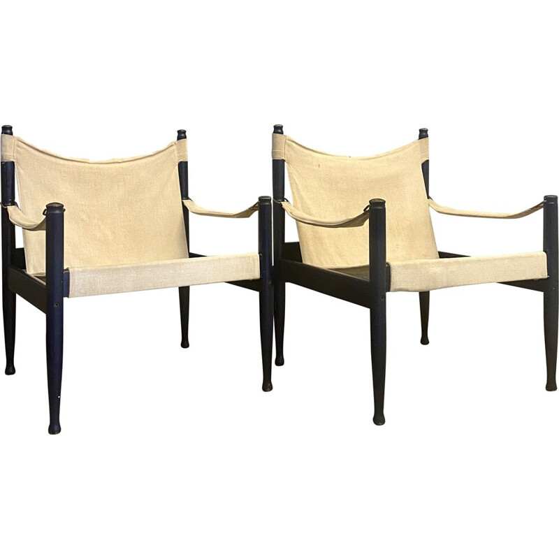 Pair of vintage safari armchairs by Erik Worts Denmark 1960s