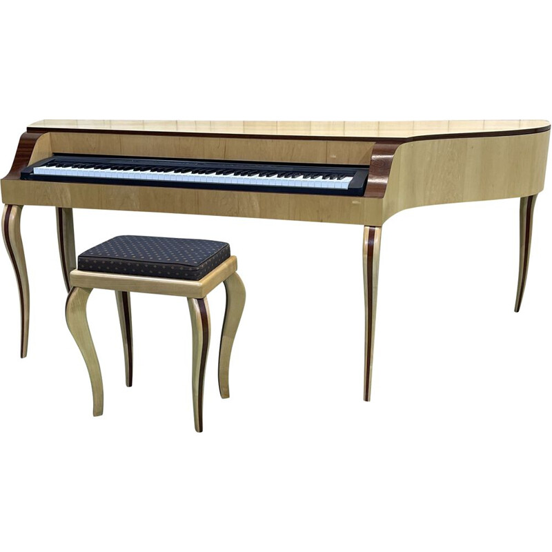 Vintage piano and stool in sycamore maple