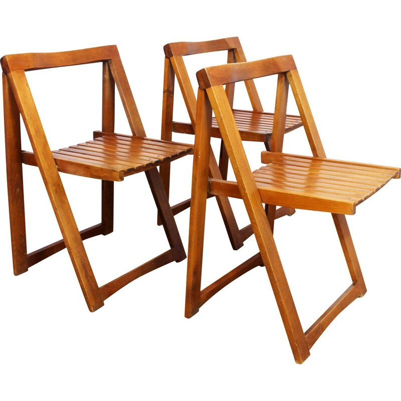 Set of 3 vintage folding chairs Aldo Jacober