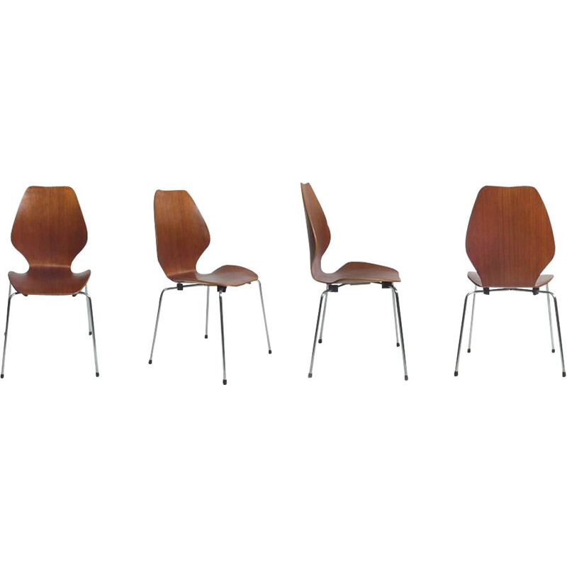 Set of 4 vintage City chairs by Oivind Iversen 1950s