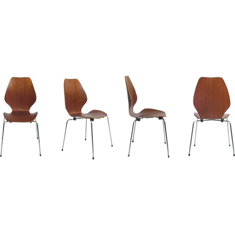 Set of 4 vintage City chairs by Oivind Iversen 1950