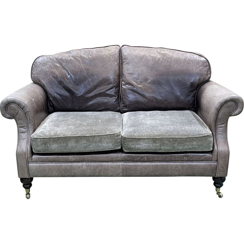 Vintage grey leather sofa